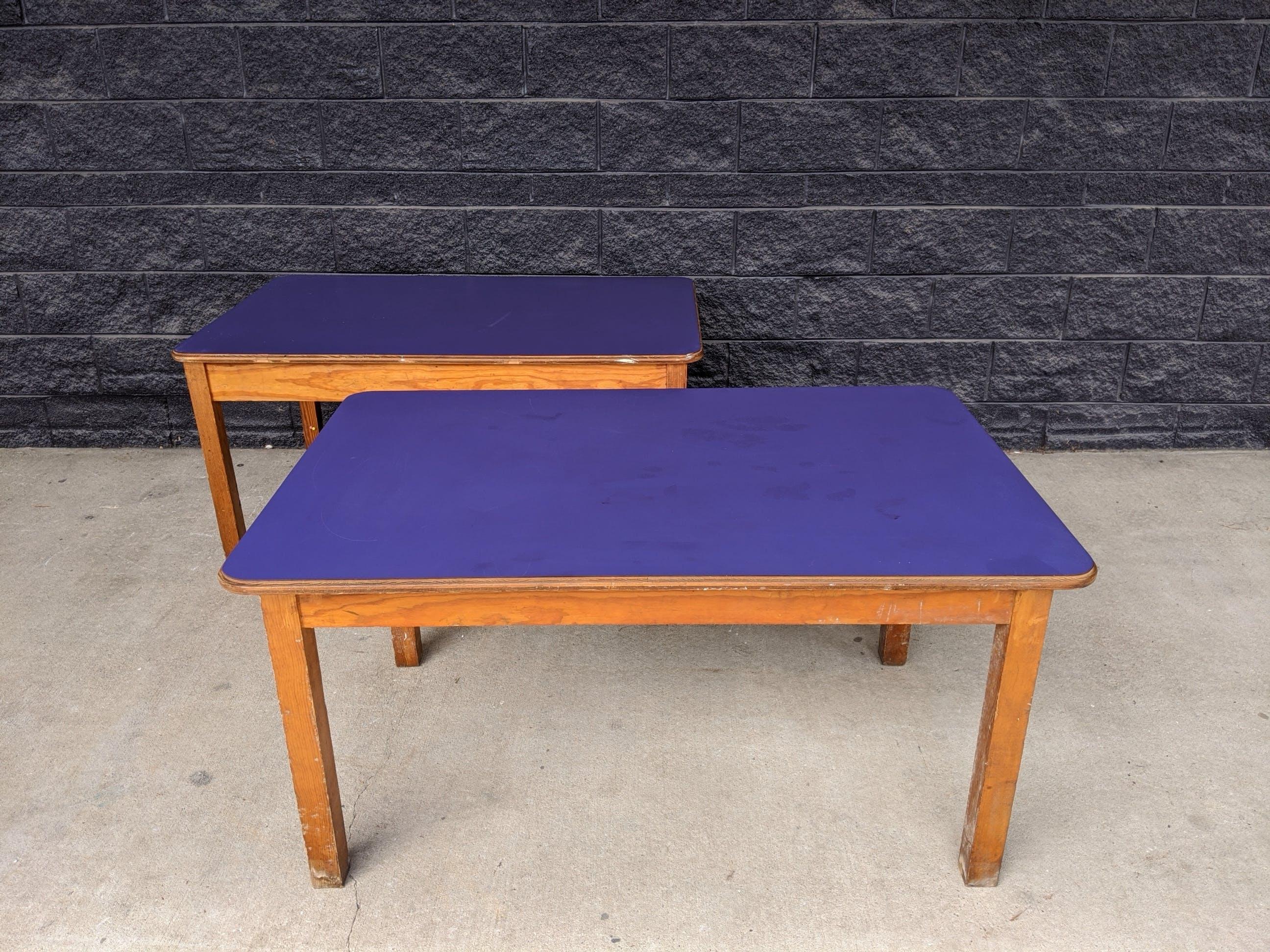 "(2) vintage 3 4"" kids oak library school activity table arts & crafts purple"
