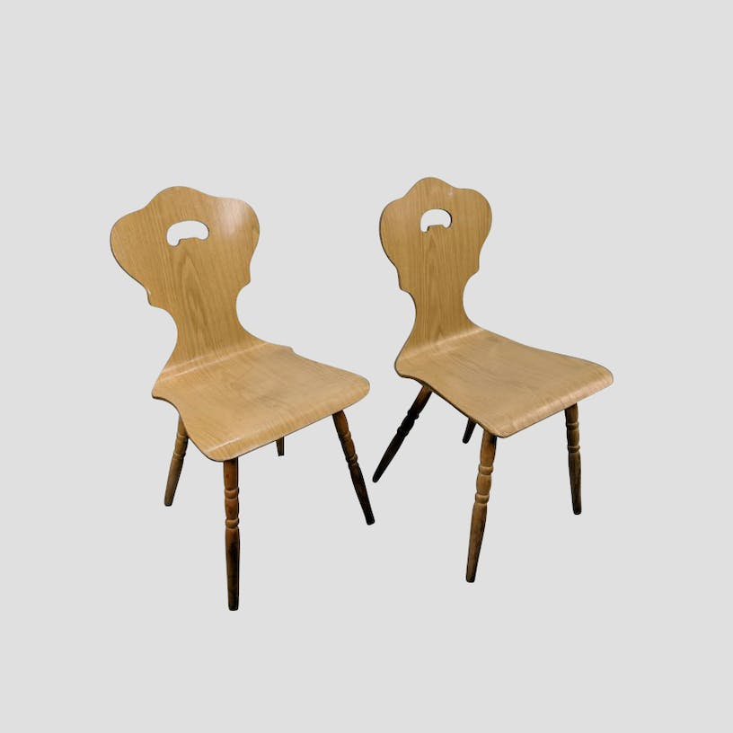 Pair Of Unique Mid Century Bent Plywood Chairs With Honey