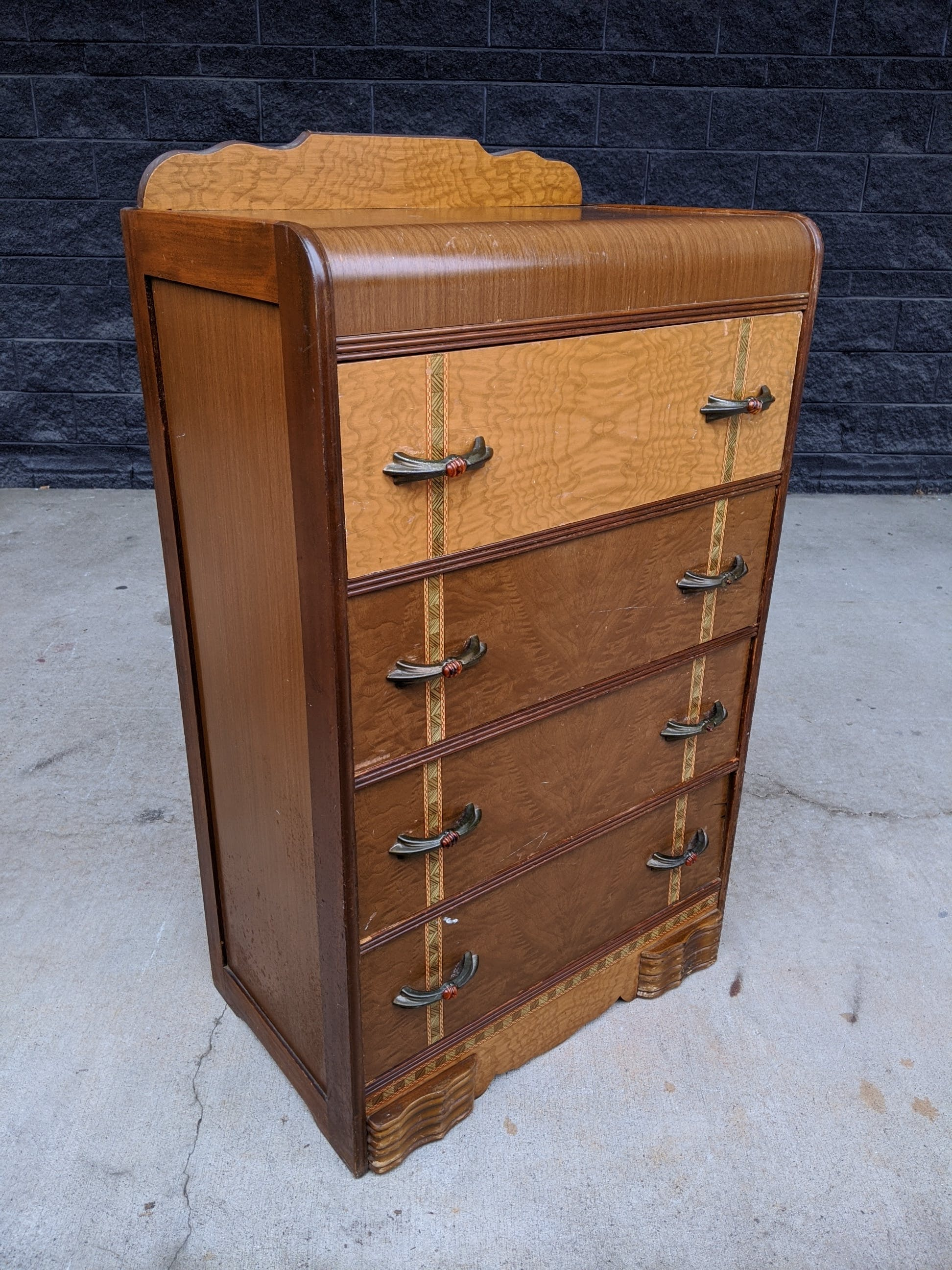 vtg 30s 1930s art deco waterfall wood dovetailed chest drawers dresser storage