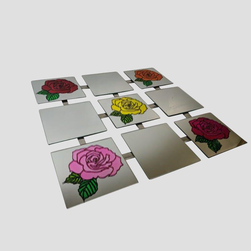 Unique Hand Painted Floral Wall Tile Mirror Chrome