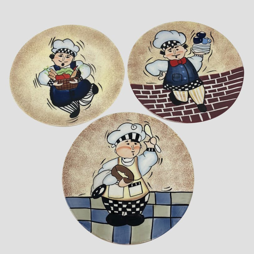 Linda Jacque Chef Plates Decorative Set Of 3 8 Plates